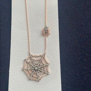 Rose gold plated Spider web necklace